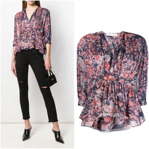 IRO Saola printed ruffle blouse